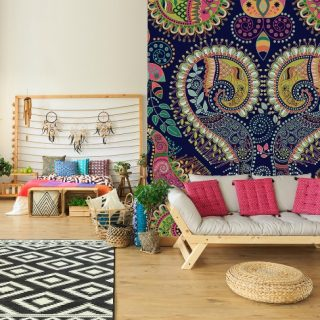 Bohemian or boho home style with a paisley forcal wall