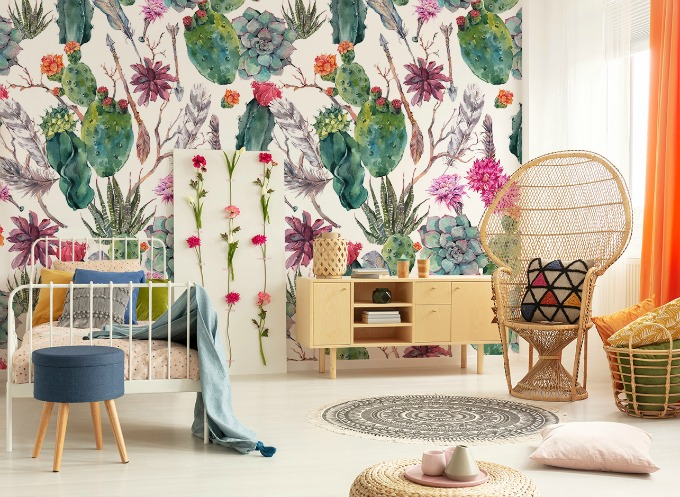 Childs bedroom done in a boho home decor style