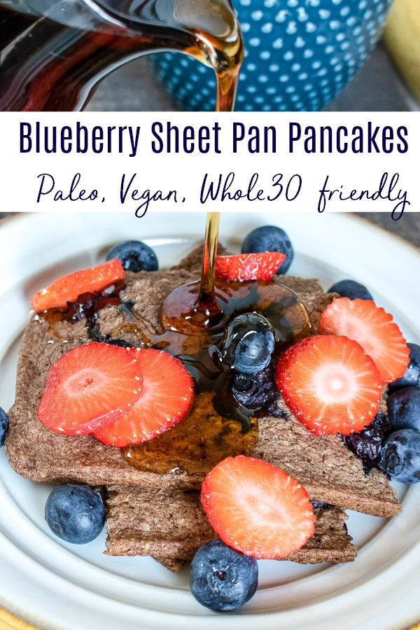 These blueberry sheet pan pancakes are going to rock your world. They're easy to feed a crowd, Vegan, vegetarian, paleo, and whole30 friendly. Plus they taste amazing, and only take about 30 mins to make.