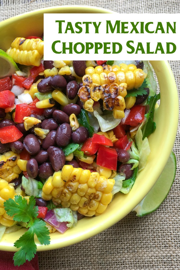A delicious Tex Mex inspired salad that's perfect for summer. This Mexican Chopped Salad is a great dish to showcase the fresh fruit and vegetables you can get. Vegetarian, and can easily be made vegan. Also gluten free | Dinner Idea | 30 Minute Meal | 20 Minute Meal