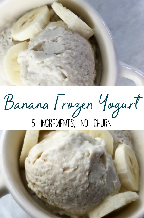 5 ingredient no churn Banana Frozen Yogurt. A simple and easy healthy dessert that has no added or refined sugar. | Healthier ice cream alternative
