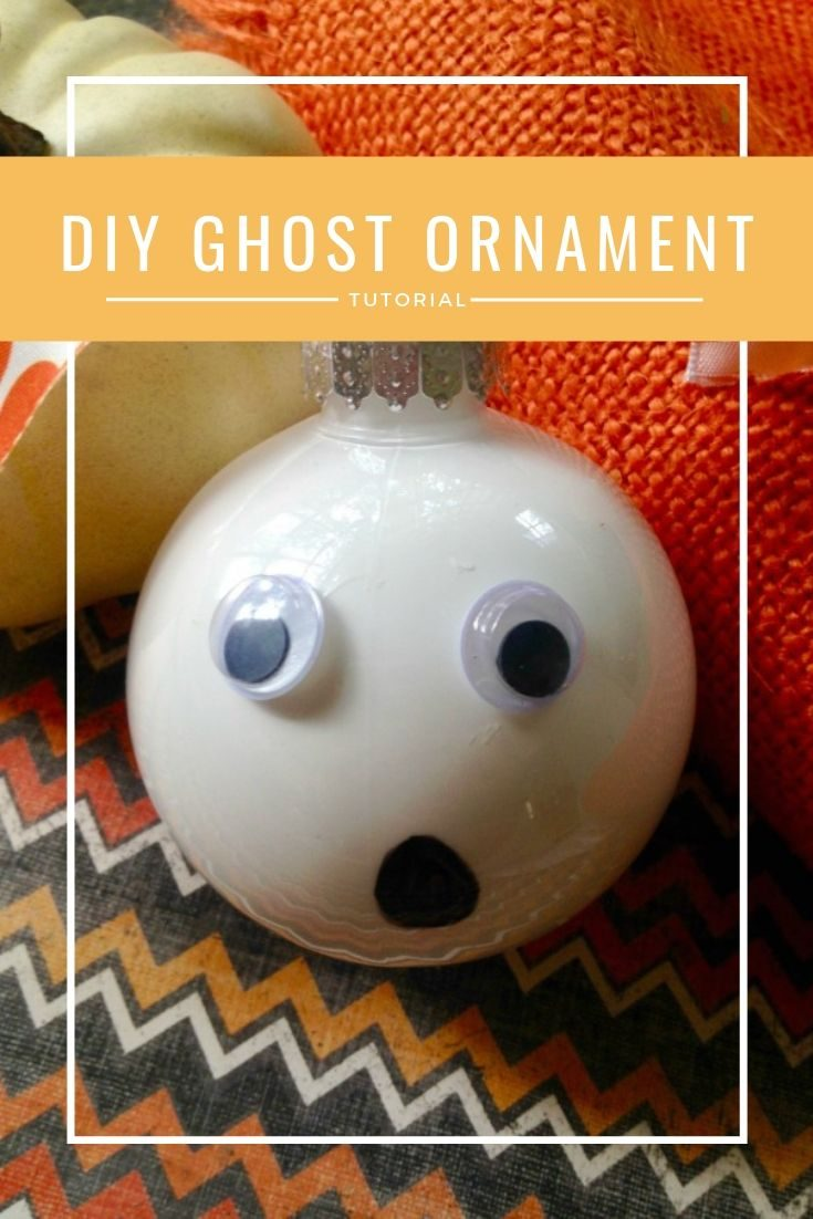 Make this simple and easy DIY Ghost Ornament for Halloween.  Perfect for a wreath or a tree, or just in a bowl.  Good for kids with adult supervision too.