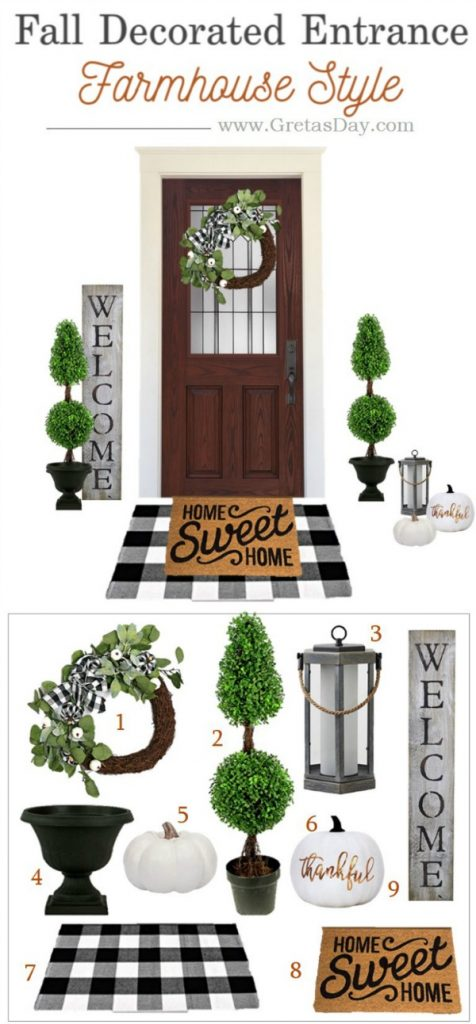 Farmhouse porch decor for fall featuring buffalo plaid and topiary trees.