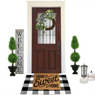 Buffalo plaid fall farmhouse porch decor