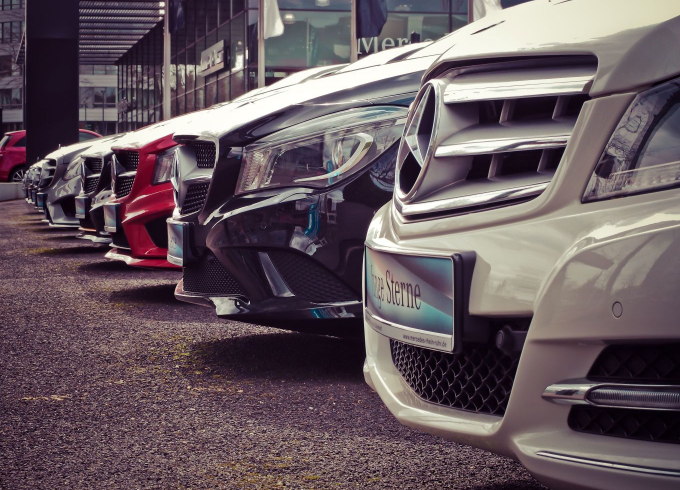 Row of new Mercedes cars