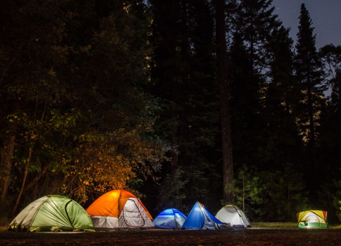 row of tents camping