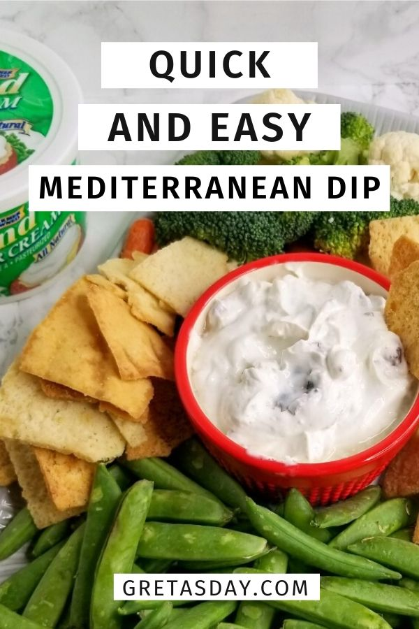 Simple and easy Mediterranean dip recipe. It's a great appetizer for any time of year