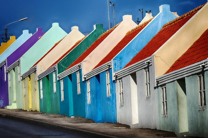 brightly painted buildings in Curacao