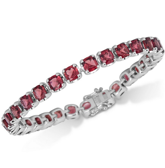 Garnet Tennis Bracelet set in Sterling Silver