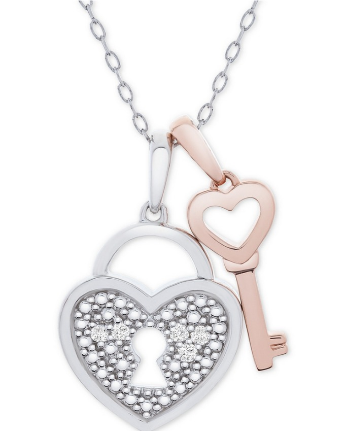 Heart lock and key diamond pendant