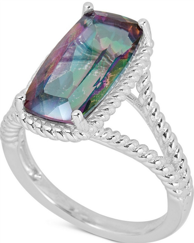 Mystic Quartz cocktail ring set in sterling silver