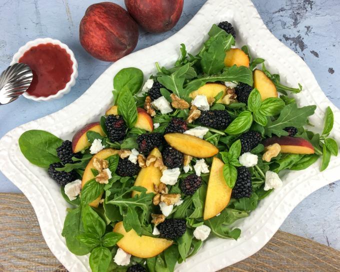 Peach blackberry Salad with Basil Blackberry Vinaigrette dressing recipe