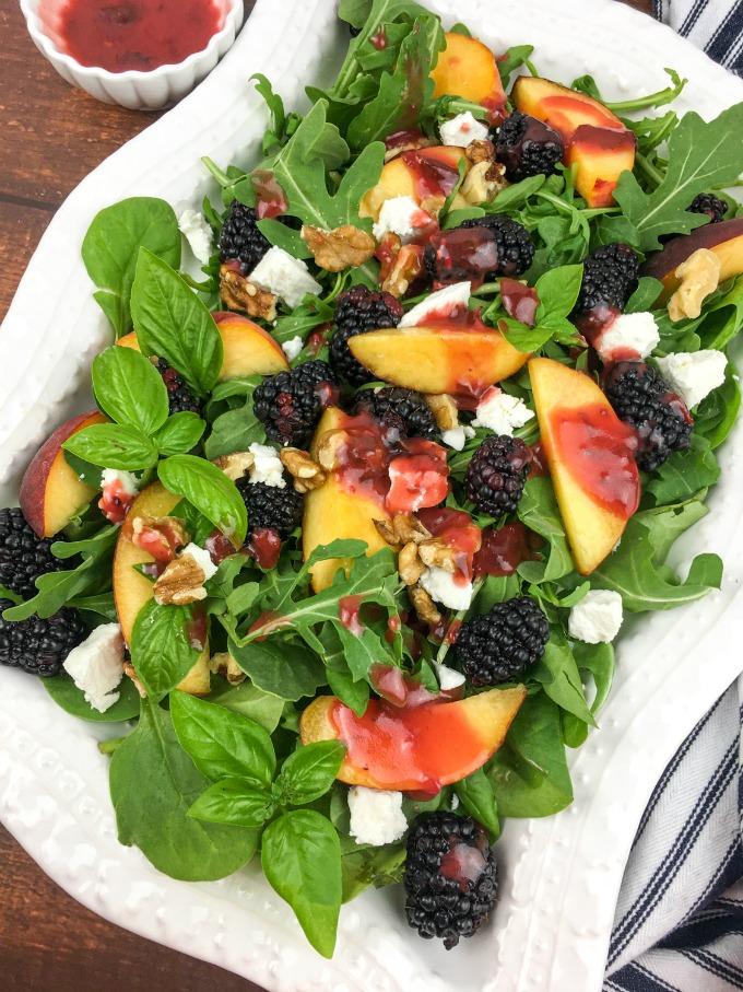 Peach Blackberry Salad with Blackberry-Basil Vinaigrette