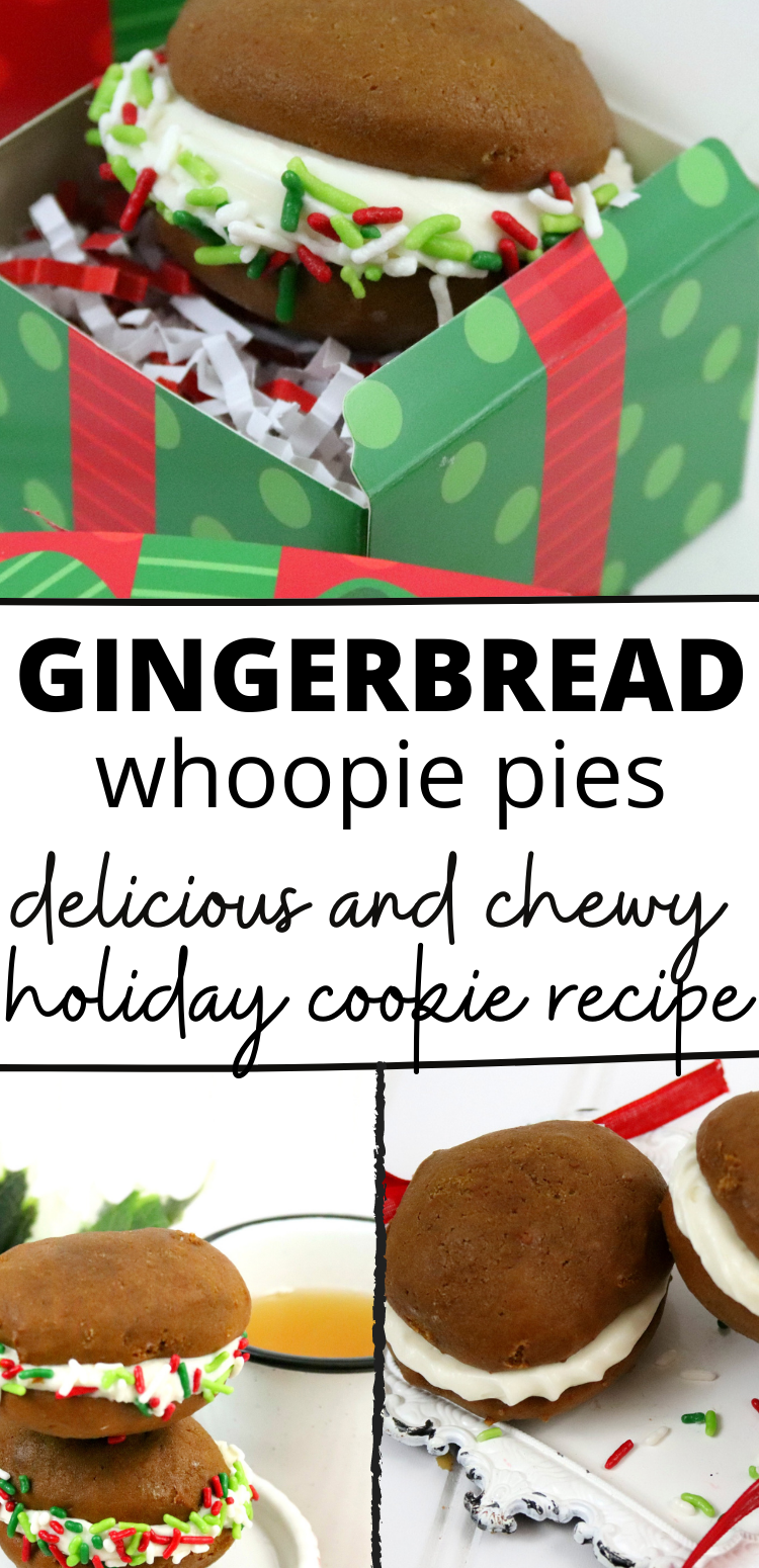 A perfect holiday whoopie pie recipe that combines Gingerbread and delicious sweetened cream cheese filling.