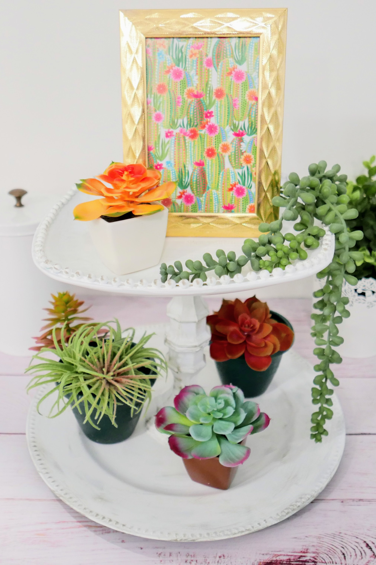 upcycled two tier tray tutorial