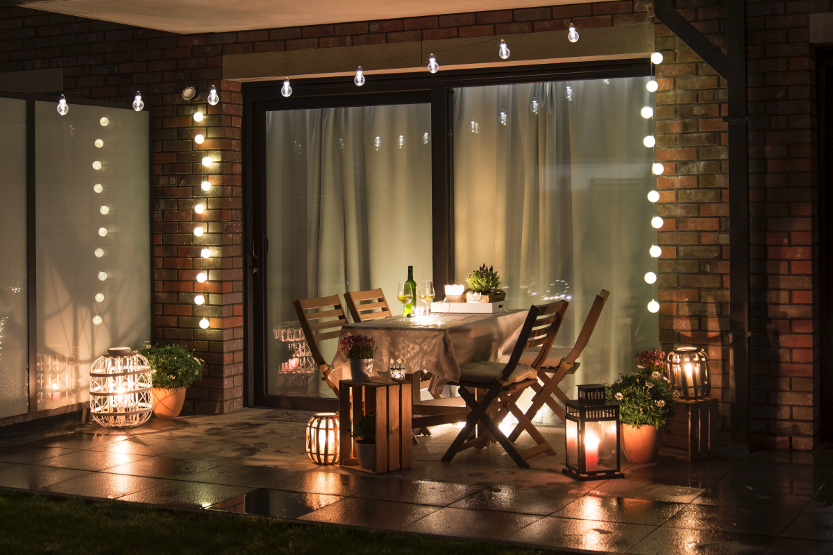 Outdoor patio space with lights